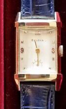 Rare Prism Shaped Bulova 14k Solid Gold Man's Wristwatch Ca.1947, 21, Vtg. Box