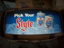 Vintage Heileman Old Style Lighted Beer Sign Barrel Keg