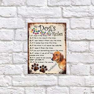 My dog's Rules Dachshund Theme Theme Tin metal sign, Novelty gift