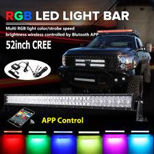 5D 52inch 1000W RGB CREE LED Light Bar Strobe Offroad Halo Ring Jeep Flashing 50
