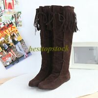 Hot womens Knee High Boots Tassel Moccasin Fringe Pull On Flat Heel Shoes US4-11