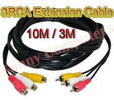 3RCA Audio Video AV Composite Extension Cable M/F Cord DVD TV Adapter 10M 3M AU