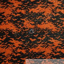 BonEful Fabric Cotton Quilt Orange Black Bat Glitter Dark Night Star Dot L Scrap