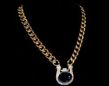 Vintage Nina Ricci Necklace Huge Blue Rhinestones Gold tone Chunky Choker