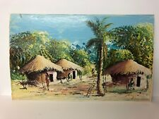 "African Artist Mayemba Oil Zaire Congo Village Landscape Scene Africa 15.5x9.5"""