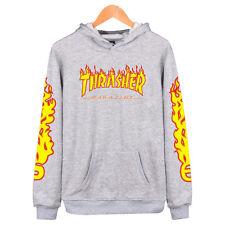 Men & Women Thrasher Flame Pullover Hoodie Sweaters Skateboard Sweatshirts.