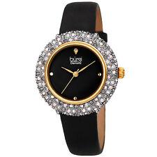 Women's Burgi BUR227 Swarovski Crystal Diamond Marker Satin Leather Strap Watch
