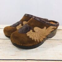 Lucky Brand Suede Clogs Mules Leather Wings & Peace Heart US Women's Size 6 M