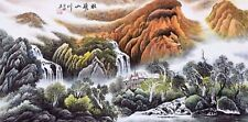 100% ORIENTAL ASIAN FINE ART CHINESE WATERCOLOR PAINTING-Mountains scenery view