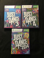 Just Dance 3, 4, & 2014 Bundle Lot! Cleaned/Tested! Fast Ship! (Xbox 360, 2013)