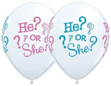 "10 He or She Gender Reveal Baby Shower 11"" Latex Balloons ASSORTMENT FREE SHIP"