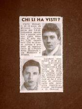 Carlo Roncalli di Milano e Alessandro Lucchini di Genova Scomparsi nel 1945