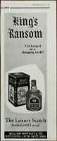 William Whiteley & Co. King's Ransom Luxury Scotch Whiskey Vintage Advert 1966