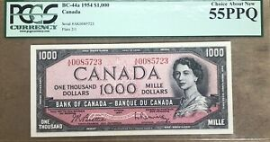 1954 Bank of Canada $1000 Banknote PCGS AU 55 PPQ - Cat#BC-44a