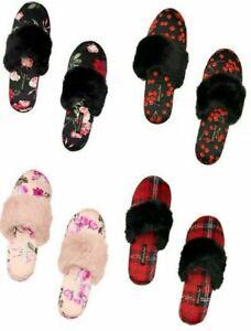 Victoria Secret Satin Slippers Floral Rose Black Pink  S M L 5 6 7 8 9 10 Women