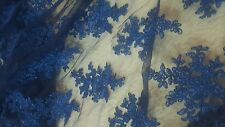 High Quality Beautiful Blue French Lace Fabric 1 yrd. Cheapest on ebay