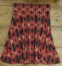 LuLaRoe Women's MAXI Size XL Extra Large Skirt Black Orange Peach Diamonds Aztec