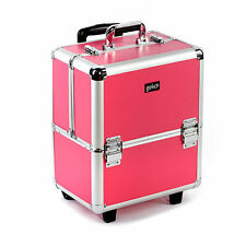 Premium BELLEZZA CAPELLI DRESSER Makeup RUOTA MANIGLIA TROLLEY Box Storage Case ROSA