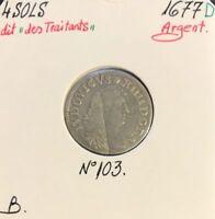 4 SOLS dit des Traitants - Louis XIV - 1677D - Pièce de Monnaie en Argent // B