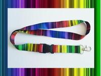 Rainbow Lanyard Neck Strap for Keys ID Card Holder - width 20mm, length 52cm
