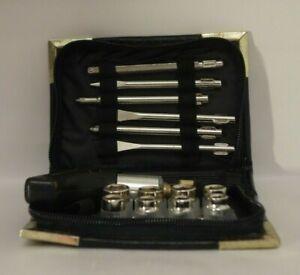 Vintage Cased Screwdriver Set Combination Ratchet Chrome Leather Edged Case Zipp