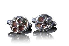 Solid Silver Crater Cufflinks Set With Iron Meteorite