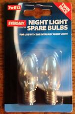 2 X EVEREADY NIGHT LIGHT BULBS 7 WATT E12 OR E14 SCREW FITTING CLEAR BULB