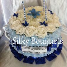 Artificial Silk Funeral Birthday Cake Flower Wreath Anniversary Tribute Memorial