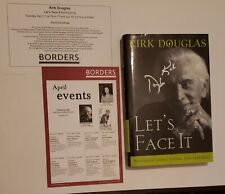 "Kirk Douglas Signed Autograph (Cover & Inside Pg.) ""Let's Face It"" Autobiography"