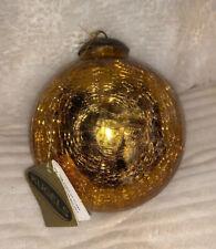 Antique Old Unique Gold 4' Glass Original Heavy German Kugel Christmas Ornament