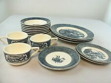 """Royal China """"Currier and Ives"""" Set Plates, Bowls, Cups, 17 pieces Royal Blue USA"""