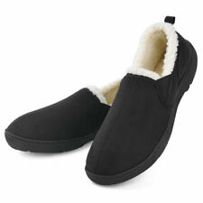 Men's Memory Foam Slippers Wool-Like Plush Warm Anti-Skid House Shoes