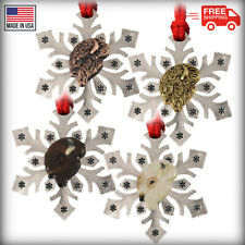 Pewter American Bison Buffalo Snowflake Christmas Tree Ornament, Made in the USA