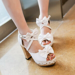 Casual Sweet Cute Buckle Ankle Strap Sandals Lolita Super High Heel Womens Shoes
