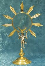 Ostensorio bicolore con angelo ostia magna con raggi ottone dorato Monstrance