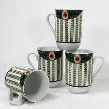 Georges Briard VICTORIAN CHRISTMAS 8oz Cup Mug Set 4Pc Mint Holly Poinsettia
