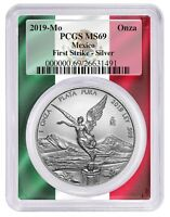 2019 Mexico 1oz Silver Onza Libertad PCGS MS69 - First Strike Flag Picture Frame