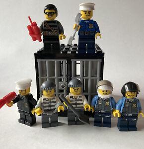Lego Minifigures Lot of 7 Cops Sheriff Breakout Jail Prisoner Bars City Police