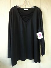 BOBBIE BROOKS PLUS SIZE 3X LACE UP NECKLINE BLACK TUNIC TOP