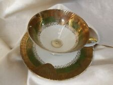 Antique Vintage Mitterteich Bavaria Germany Cup And Saucer Set Gold Green 052