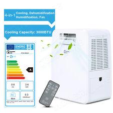 4-in-1 Portable Air Conditioner Unit Humidifier 20L/Day Dehumidifier 3000BTU A+