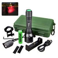 Tactical 5000LM Green//Red LED Coyote Hunting Flashlight Zoom Torch 18650 Light