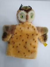 New listing Steiff Owl Handpuppet Button Flag Stuffed Animal Made In Germany Wool Cotton