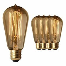 Edison Light Bulbs (4 Pack) - Vintage Squirrel Cage Filament 60W - Antique Amber