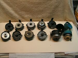 Vintage 11 Zebco Fishing Reel Body's Lot 9 X 33, 202, 404 For PARTS As Pictured.