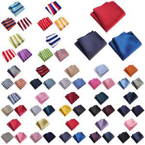 3 PCS Men Stripe Candy Color Pocket Square Handkerchief Wedding Party Hanky