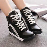 New Women High Top Hidden Wedge Heel Sneakers Lace Up Shoes Trainer Boots Casual