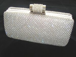 Silver Bling Crystal Diamante Diamond Evening bag Clutch Purse Party Prom Bridal