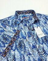 ROBERT GRAHAM Men's XL Classic Fit Short Sleeve Button Front Shirt Blue NWT $198