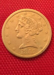 1855- $5-Gold Liberty/B/U/100% Authentic /US-5-Dollar Gold/ReallyNice Coin/